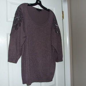 Lane Bryant Grey Sweater W/Lace Inserts 22/24